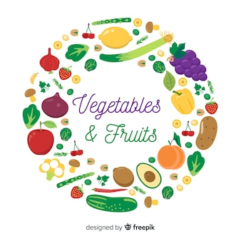 野菜や果物の丸枠