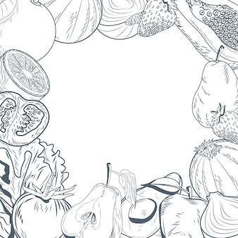 野菜や果物のフレーム手描き
