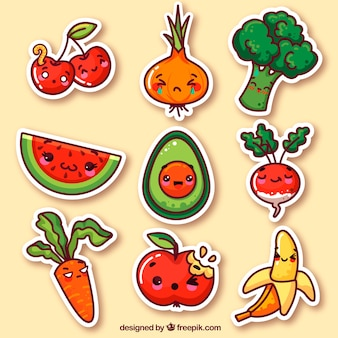 Vegetables and fruits funny stickers
