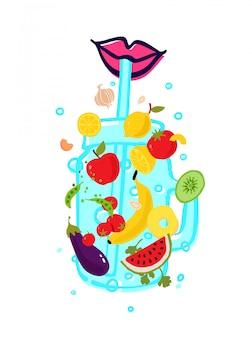 透明なガラスに野菜と果物を入れ、ストローでスムージーを作ります。