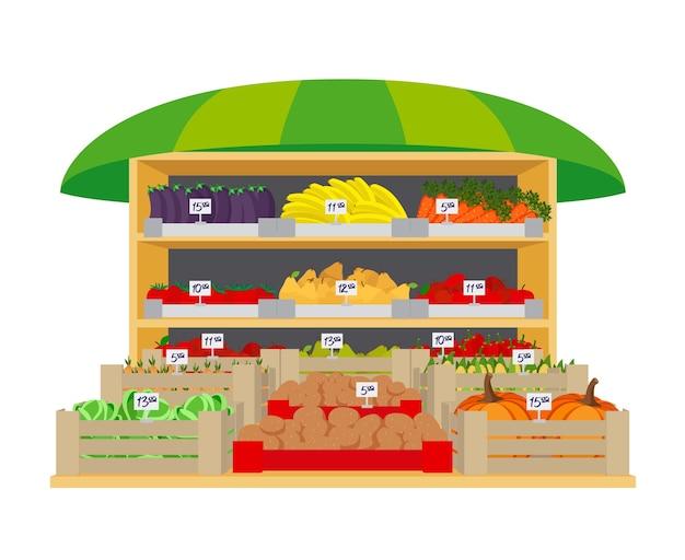 野菜や果物の市場。ナスとピーマン、タマネギとジャガイモ、ヘルシーとトマト、バナナとリンゴ、ナシとカボチャ。ベクトルイラスト