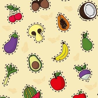 Овощи и фрукты шаблон