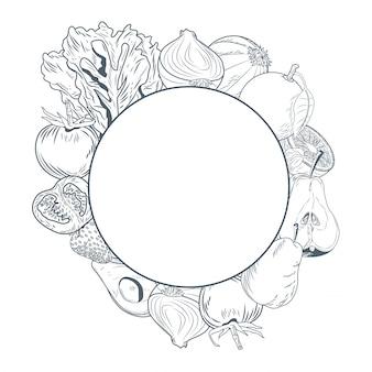 野菜、果物、丸い、フレーム、手、ドロー