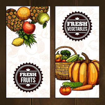 野菜や果物の垂直バナー
