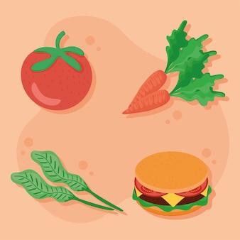 야채와 햄버거