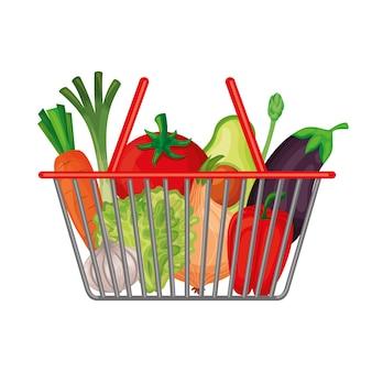 白い背景の上の野菜とマーケットバスケット。ベクトルイラスト
