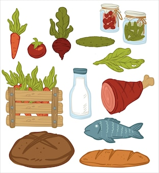 野菜や肉、パン、保存食品を瓶に入れて。有機野菜、ニンジン、ビートルート、キュウリ、サラダの葉。魚と生乳。天然食料品のアイコン。フラットスタイルのベクトル