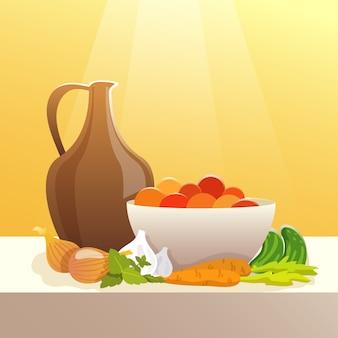 野菜とピッチャーの静物画