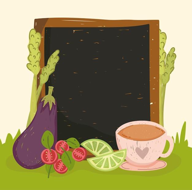 보드와 함께 야채와 차