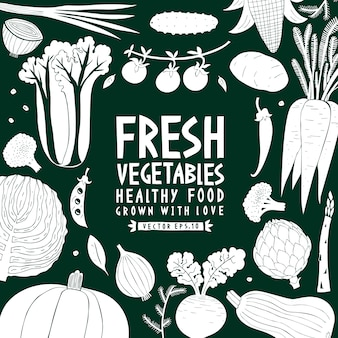 Vegetables background. linocut style. healthy food. vector illustration