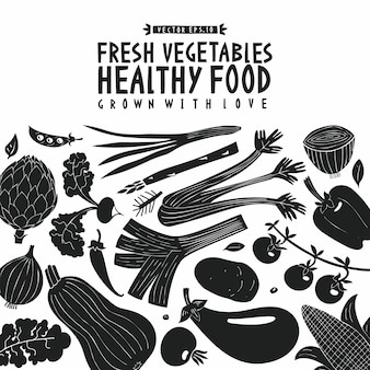 Vegetables background. linocut style. healthy food