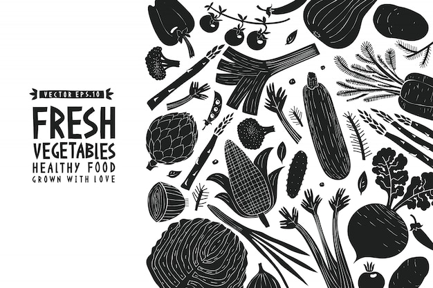 Vegetables background. linocut style. healthy food.