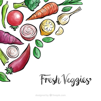 Vegetables background with watercolor style