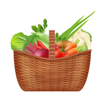 야채 바구니입니다. 흰색으로 분리된 천연 건강 야채를 위한 현실적인 피크닉 장식 용기 바구니입니다. 신선한 야채 일러스트와 함께 피크닉 바구니