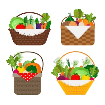 Vegetables in baskets icons on white