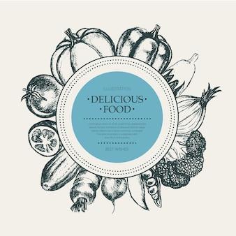 Овощи - черно-белые векторные рисованной круглый баннер с copyspace. реалистичная брокколи, тыква, редис, лук, помидор, баклажан, перец, огурец, морковь, горох