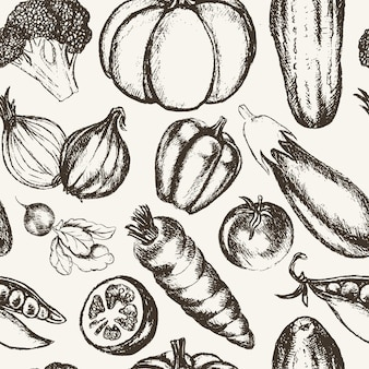 Овощи - черно-белый вектор ручной обращается бесшовные модели. реалистичная брокколи, тыква, редис, лук, помидор, баклажан, перец, огурец, морковь, горох