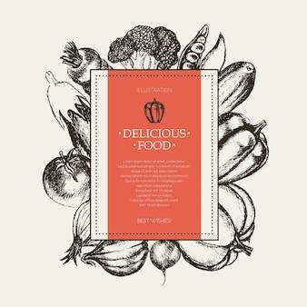 Овощи - черно-белый вектор ручной обращается квадратный баннер с copyspace. реалистичная брокколи, тыква, редис, лук, помидор, баклажан, перец, огурец, морковь, горох