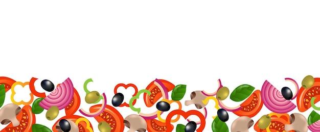 Vegetables border on white background