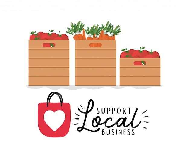 Овощные ящики с поддержкой местного бизнес-дизайна, темы розничной покупки и рынка