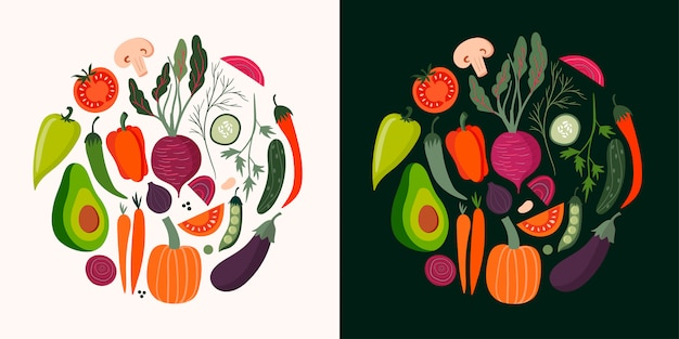 Vegetables cards collection with hand drawn isolated elements