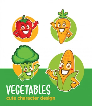Vegetables cartoon character
