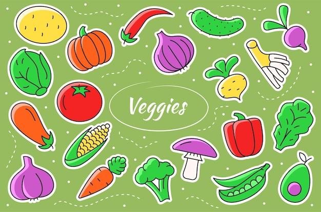 Овощи мультяшные наклейки. овощи векторные иллюстрации.