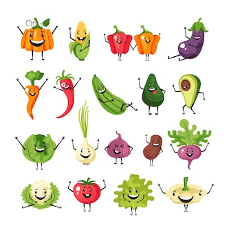 Vegetables character simple collection isolated set