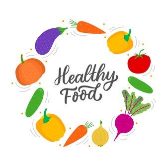 野菜サークルフレームと言葉健康食品
