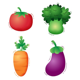 Vegetables collection : tomato, broccoli, carrot and eggplant. vector illustration