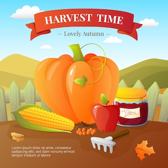 Pumpki와 야채 작물 및 과일 수확