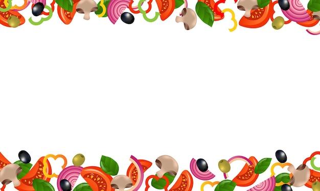 Vegetables frames on white background
