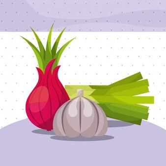 Овощи свежий органический здоровый лук лук чеснок