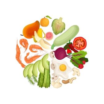 Овощи, фрукты, ягоды, вареные креветки, яичница, орехи выложены в круг в цветах.