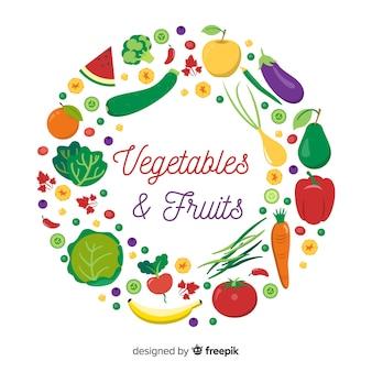 Vegetables and fruits circled frame