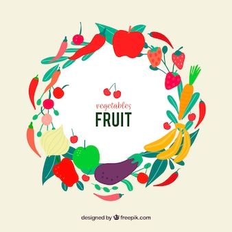 Vegetables and fruits frame with flat design