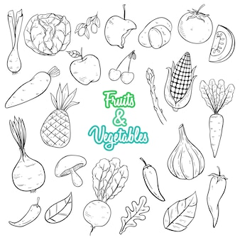 Vegetables and fruits hand drawn style with black and white color