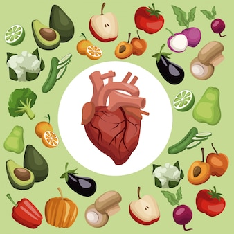 Vegetables and fruits healthy food with heart in center