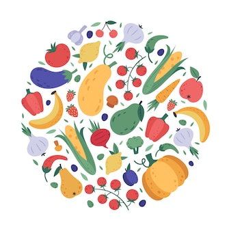 Vegetables and fruits pattern. kitchen veggies and fruits hand drawn doodle rounded poster, fresh organic vegetarian wrapping, healthy lifestyle  colourful background.  healthy menu design