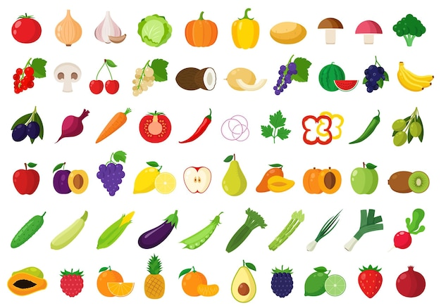 Vegetables and fruits set for groceries