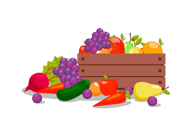 Vegetables and fruits in wooden crate illustration