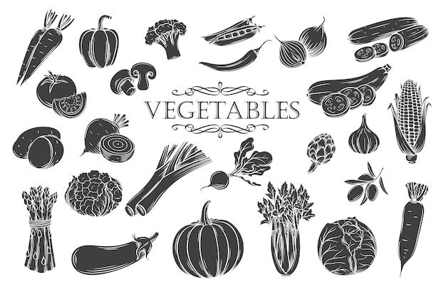 야채 문자 모양 아이콘을 설정합니다. 장식 복고풍 스타일 컬렉션 농장 채식 제품 레스토랑 메뉴, 시장 레이블 및 상점.