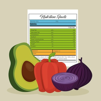 Vegetables group with nutrition facts