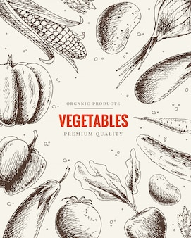 야채 손을 그려입니다. 빈티지 스타일의 건강에 좋은 음식 프레임. 시장 메뉴 디자인. 유기농 식품 포스터. 유기농 제품의 채식 세트