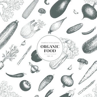 Vegetables hand drawn vector seamless pattern