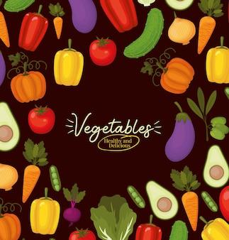 Овощи здоровые и вкусные надписи и связка овощей иконки над черным дизайном иллюстрации