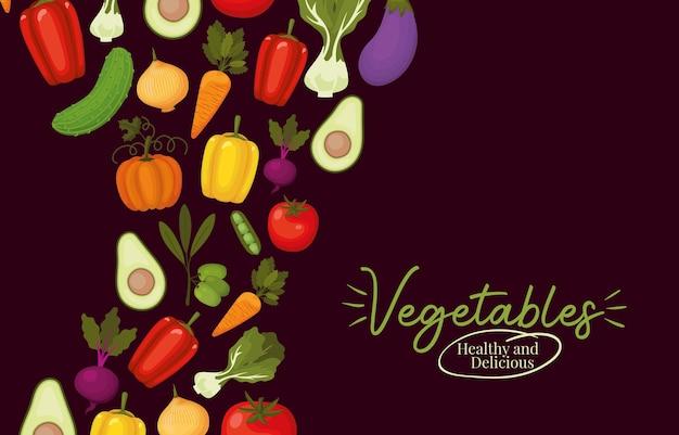 Овощи здоровые и вкусные надписи и набор иконок овощей на коричневом дизайне иллюстрации