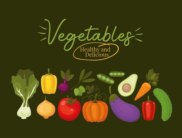 Vegetables healthy and delicious lettering and set of vegetables icons illustration design