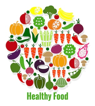 野菜の健康食品。にんじんとトマト、パティソンとアボカド、ビーガンとキュウリとコショウ。ベクトルイラスト