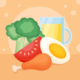 Vegetables and healthy food design template